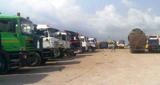 The cocoa carriers at a recent demonstration to back their demands refused to offload trucks of cocoa beans
