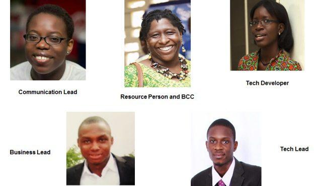 Lady Omega Hammond-Communication Lead, Sherrie Thompson- Resource/BCC, Cheryl Tetteh- Tech Developer, Ferdinand Badong-Business Lead,Gerald Pharin-Tech Lead.