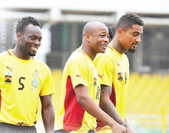 Black Stars players in training.