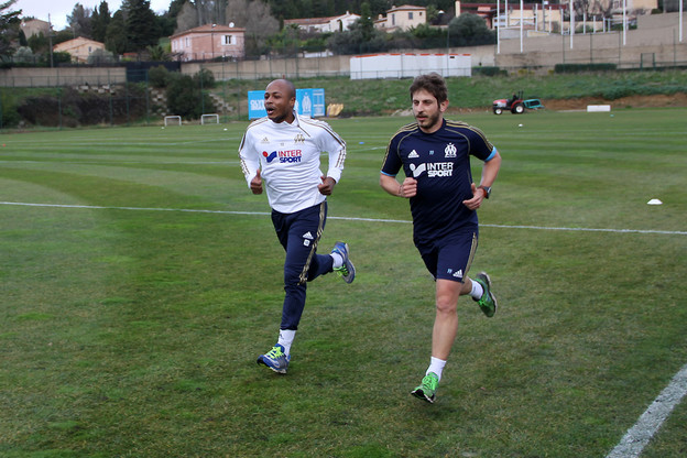 Andre Ayew stepping up his training at Marseille.