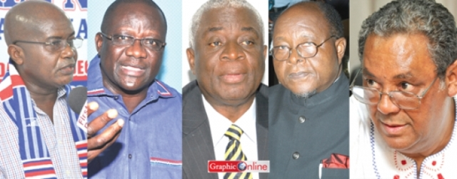 From (L) to (R) Stephen Ntim, Paul Afoko, Fred Oware, Prof Mike Oquaye and Jake Obetsebi Lamptey - Who chairs NPP for 2016