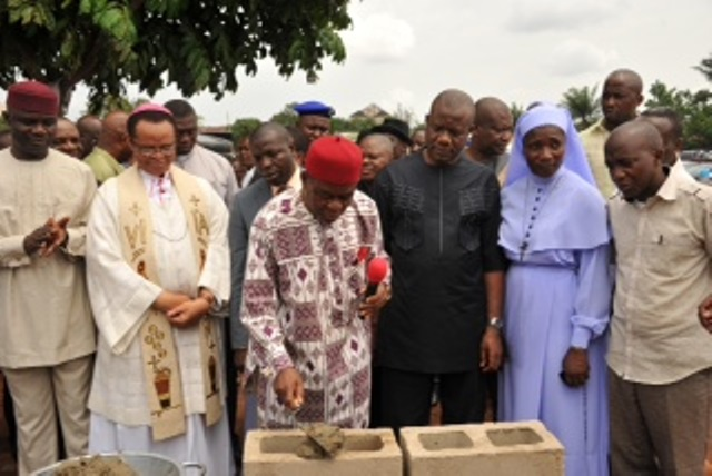 Gov. Theodore Orji of Abia state (middle)  laying > the foundation stone of new Classroom Block at Holy Rosary Secondary > School in Umuahia. with him from L-R are Speaker, Abia State House of > Assembly, Rt. Hon. Udeh Okochukwu, Catholic Bishop of Umuahia, Most > Rev. Lucius Ugorji, Deputy Speaker, Hon Asiforo Okere, Principal of the > school Rev. Sis. Jane Okoro and Commissioner for Information and > strategy Dr. Eze Chikamnayo.