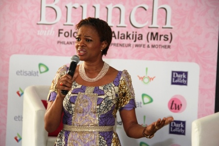 Publisher, TW Magazine, Mrs. Adesuwa Onyenokwe giving her speech at the event