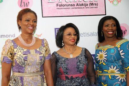 L-R): Publisher, TW Magazine, Mrs. Adesuwa Onyenokwe; Executive Vice Chairman, Famfa Oil Limited, Mrs. Folorunso Alajika and a guest at the event.