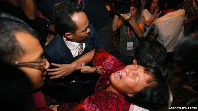 Relatives were forcibly removed by security officials while trying to speak to journalists
