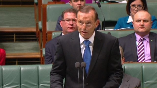 """Australian Prime Minister Tony Abbott: """"The first [is a] grey or green circular object, and the second an orange rectangular object"""""""