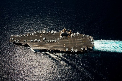 The Nimitz-class aircraft carrier U.S.S. Abraham Lincoln in April 2012. Iran is building a mock-up in one of its shipyards.
