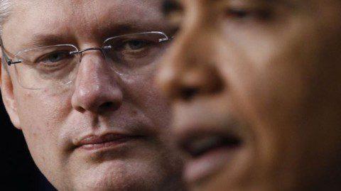 Canadian prime minister Stephen Harper (Left) and Obama
