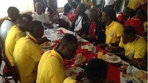 Black Stars having a meal