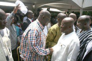 Nana Addo Dankwa Akufo-Addo in a handshake with Mr. Hackman Owusu-Agyemang