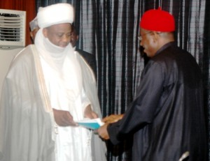 PRESIDENT GOODLUCK JONATHAN RECEIVING THE REPORT OF 2011 HAJJ FROM SULTAN OF SOKOTO AND LEADER OF FEDERAL GOVERNMENT DELEGATION TO THE HAJJ, ALHAJI SA'AD ABUBAKAR TODAY TUESDAY AT THE STATE HOUSE IN ABUJA