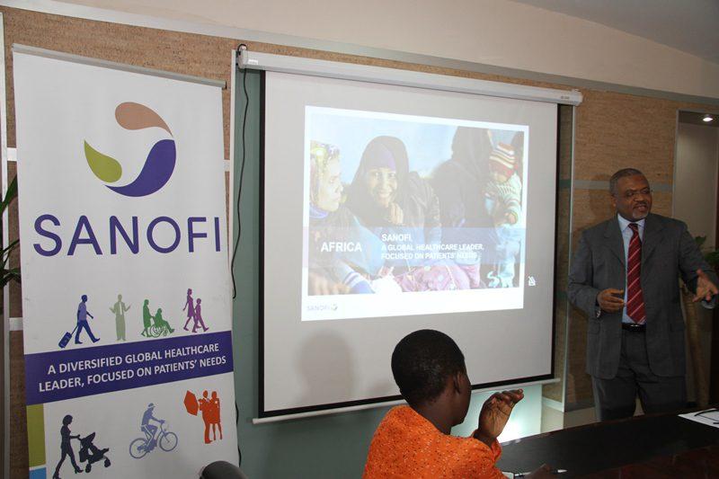 Dr. Fifen Inoussa giving a presentation on 'Impact Malaria', an initiative of Sanofi