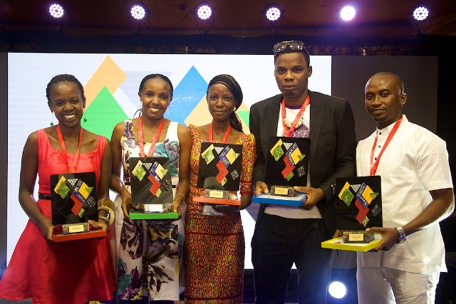 L-R: Sitawa Wafula, blogger from Kenya, Eunice Namirembe, from Uganda, Eseoghene Odiete, Creative Director, Hesey Designs, Eric Obuh, Vocal Slender, Nigerian and Christopher Panford from Ghana at the Google's 'Africa Connected' Competition award night in Nairobi, Kenya recently