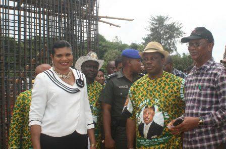 (L-R) Hon. Mrs Rebecca Udorji, Chief Willie Obiano and Arc. Calistus Ilozumba at the construction site