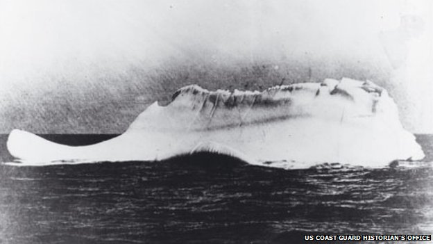 This iceberg, with a red streak of paint along its side, may have been the one that sank RMS Titanic