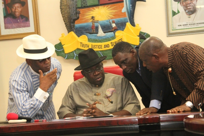 Bayelsa State Governor, Hon. Seriake Dickson (2nd L), his Deputy, Rear Admiral John Jonah (Rtd) (L), SSG, Bayelsa State, Prof. Edmond Allison Oguru (2nd R), and the State Chairman, PDP, Col. Sam Inokoba (Rtd), discussing, shortly before the inauguration of the Bayelsa Volunteers, in furtherance of peace and security in the state, at the Exco Chambers, Banquet hall, Government House, Yenagoa.