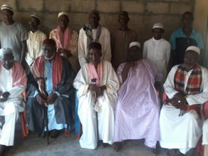 The Chief Imam of Mankranso, Alhaji Fuseini Abdulai (second right) flanked by the Muslim clerics and Zongo leaders during the press conference