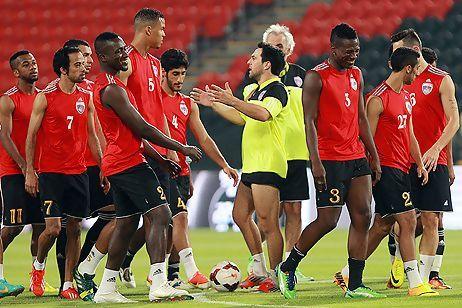 Asamoah Gyan training with his Al AIn team