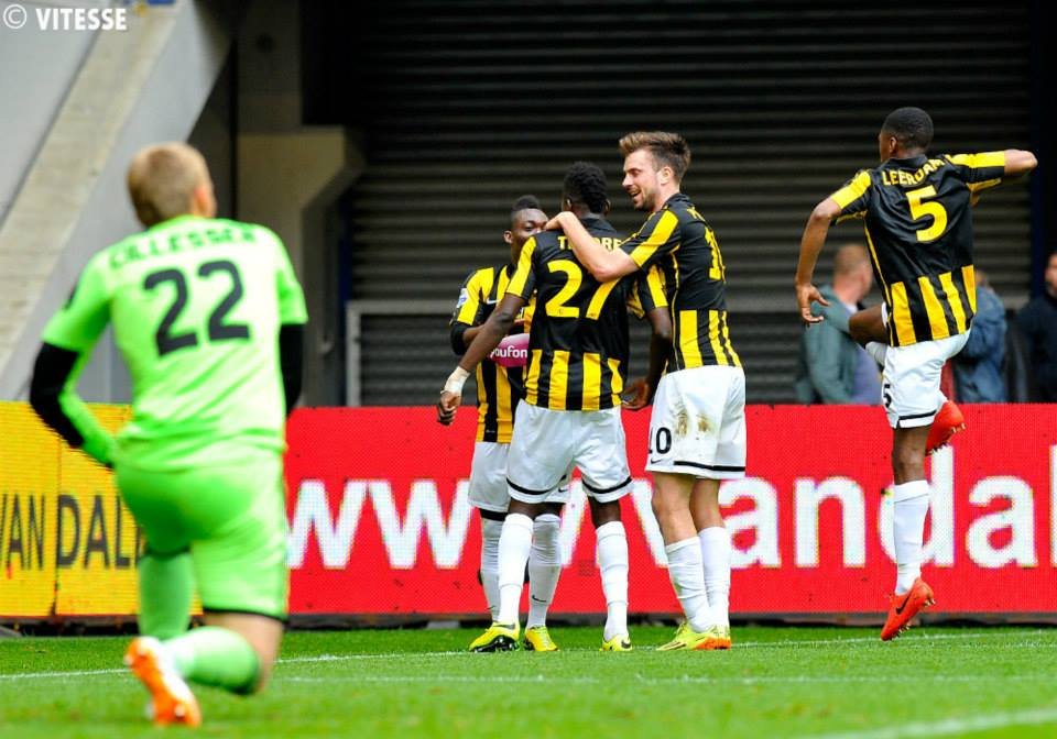 Christian Atsu celebrates goal with team-mates