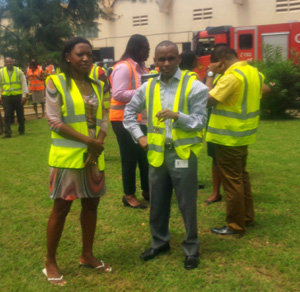 Mr. Peter Ndegwa-MD and Preba Greenstreet, CR Director responded to the Alarm and run to the secured place