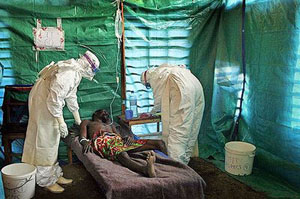 An Ebola Virus Victim Being treated