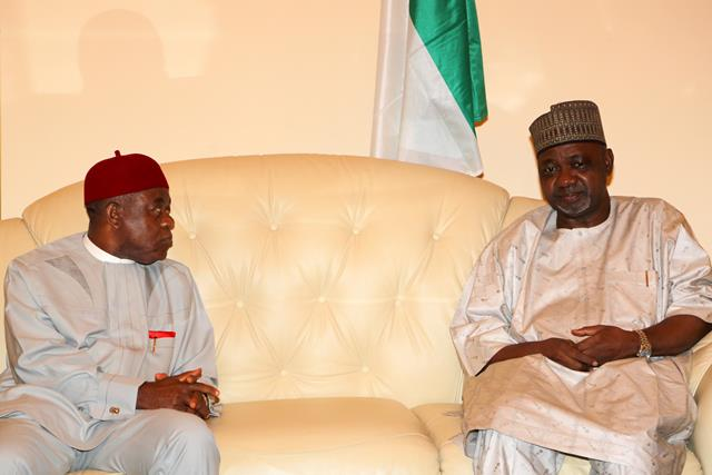 Gov. Theodore Orji of Abia state, Chairman South-east governors? forum condoling with Vice President Namadi Sambo when he led a deligation of some south-east governors on a condolence visit to the VP in Abuja.