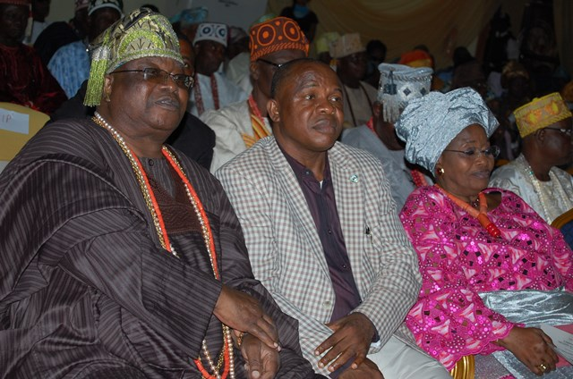 His Royal Highness, Oba Sikiru Adetona, Awujale Of Ijebuland, Secretary To  Ogun State Government, Barrister Adeoluwa Taiwo, Represents  Ogun State Governor And  Olori Agba, Iyabode Adetona At The Extreme At  Lecture