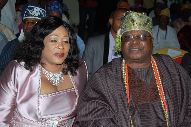 Olori Oluwakemi Adetona And  His Royal Highness, Oba Sikiru Adetona, Awujale Of Ijebuland, At  Lectures Cum Book Launch To Commemorate The 80th Birthday Celebration Of The King Held In Ijebu Ode Today, May 6th, 2014.