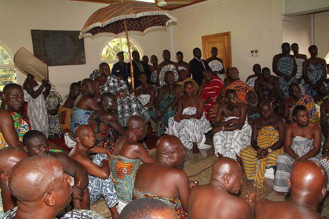 Otumfuo Osei Tutu II sitting in state