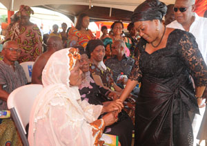 First Lady in a farewell handshake with Hajia Amina Salley
