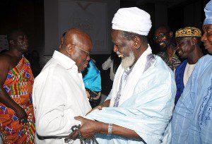 Sheik Osman Nuhu Sharubutu congratulating Nana Akufo-Addo