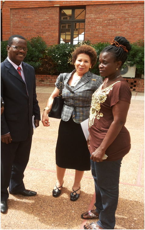 Ms. Halena Quansah (extreme right) in a photograph with Mrs. Yvonne Nduom, middle and left Mr. Patrick Annumel CEO, First National Savings and Loans