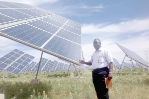 The writer at the solar energy project at the Taiyangshan Industrial Park in the Ningxia Province of China.