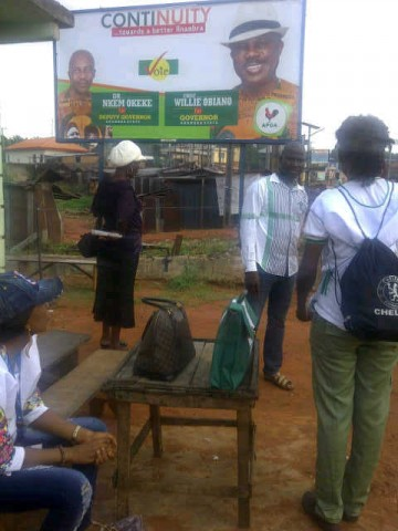 inec polling unit with poster at obiago.-1