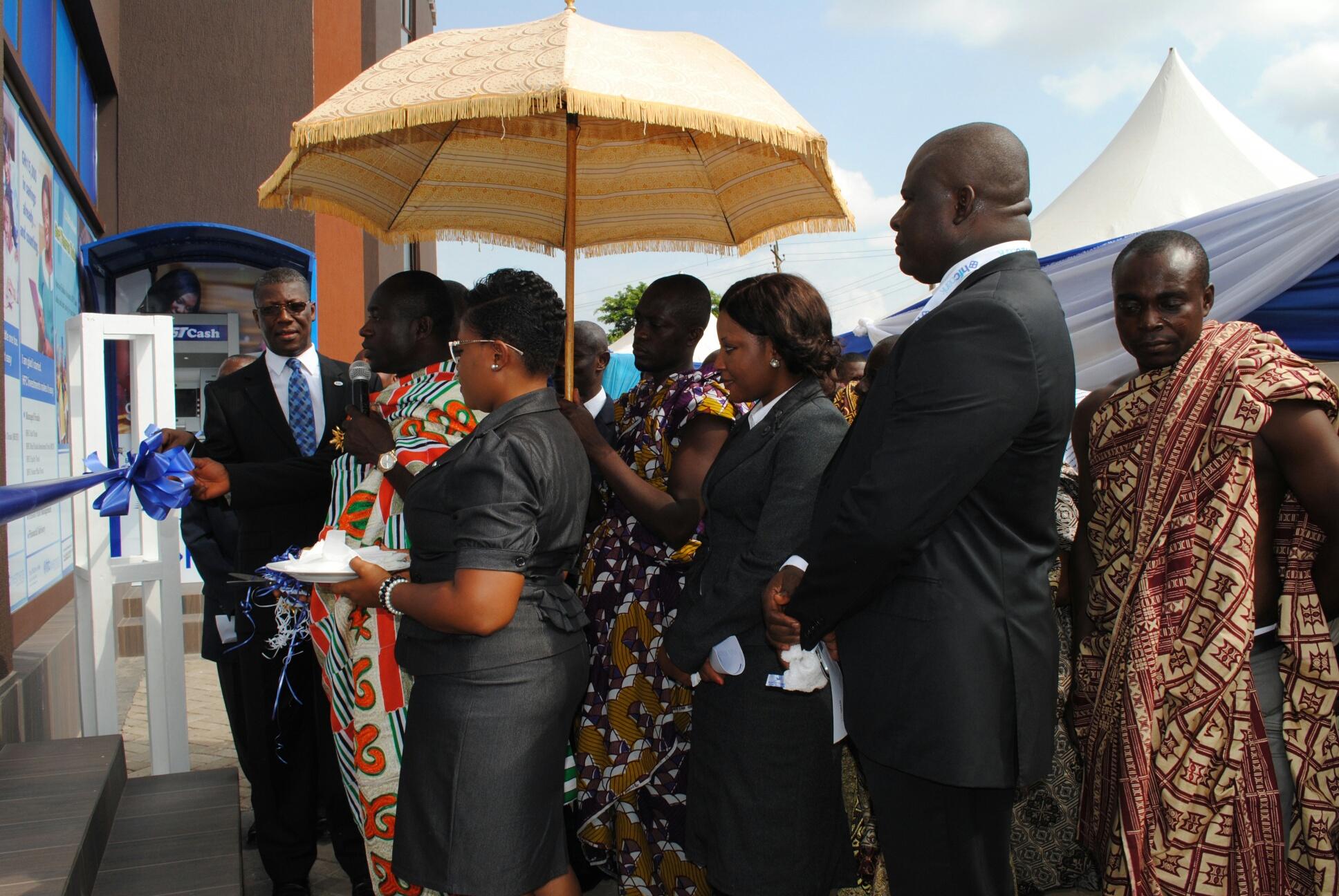 Nana Adu Mensah Asare, Amakomhene, helps Mr Asare Akuffo, MD