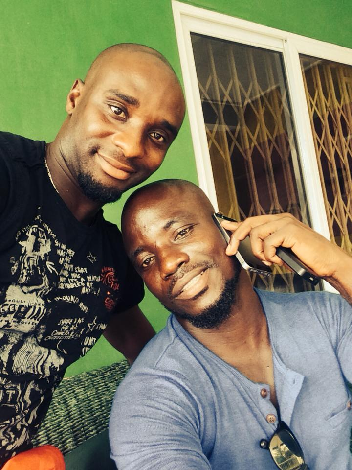 Francis Obeng with former Ghana captain Stephen Appiah