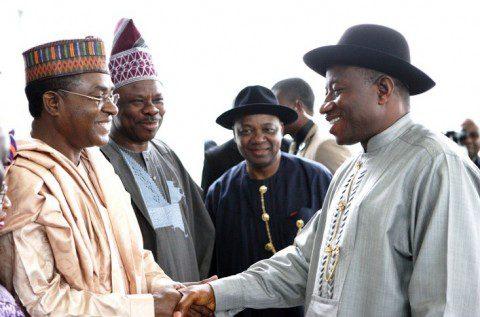 President Jonathan in a handshake with Governor of Bauchi State, Malam Isa Yuguda