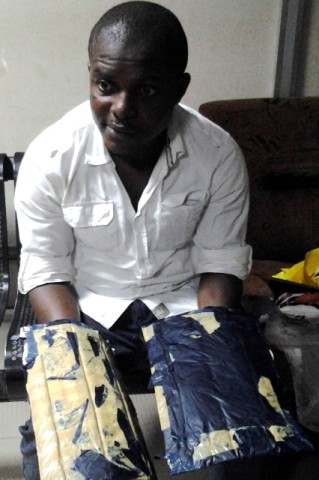 nriagwu augustine with the two parcels of cocaine