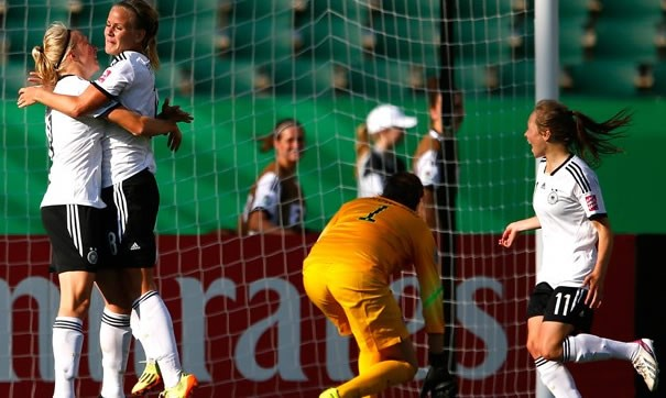 Germany have avenged their defeat to USA in the final of the 2012 FIFA U-20 Women's World Cup with a 2-0 victory over the Stars and Stripes in the teams' Canada 2014 opener.