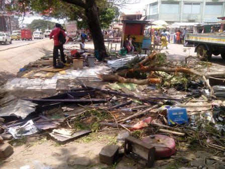 Debris of demolished structures