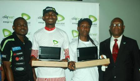 Analyst,Youth Segment, Etisalat Nigeria, Mr. Michael Nwoseh; winner of a Samsung Laptop, Emeri Okocha, an HND 1 Mass Communication student; another winner of a Samsung Laptop, Ohazurume Anastacia, an ND 1 Science Tehnology student, both from Federal Polytechnic, Nekede, Imo and Director, of Development, Federal Polytechnic, Nekede, Imo, Mr. Nnamdi Chibuzo, during the prize presentation to students at the Etisalat Cliqfest Seminar, held at Federal Polytechnic, Nekede, Imo State, today, 18th September, 2014.