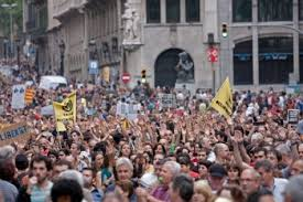 protest in streets of Barcelona