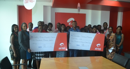 From third left Mrs Judith Awuah Darko, Founder of JEAD Foundation, Mrs. Lucy Quist, Managing Director of Airtel Ghana, Ms. Korkor Agboka, PR and Marketing Director for Sweden Ghana Medical Centre Ltd in a group picture with Airtel Ghana Employees during the handing over ceremony.