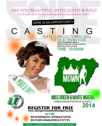 MISS GREEN AND WHITE NIGERIA