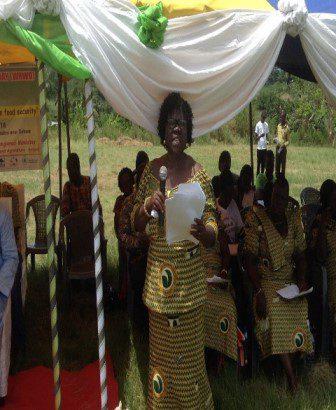 Mrs Lydia Sasu-Making a presentation at the 2014 World Rural Women?s Day at Asuboi