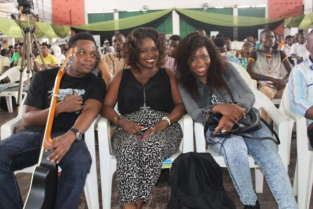 Top 3 Nigerian Idol season IV contestants, Elvis Jay, Eye-D, and Evelle Zibili at the Etisalat Cliqfest, University of Lagos, UNILAG.