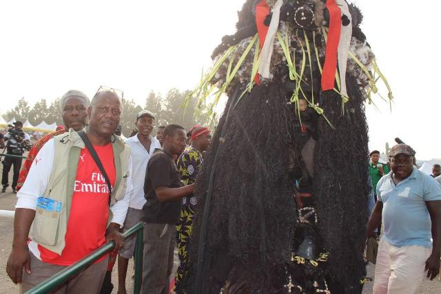 The dreaded Ajofia masked spirit from Otolo Nnewi, a heroic character in Chinua Achebe's Things Fall Apart, displaying at the Anambra Cultural Festival that took place at the Alex Ekwueme Square, Awka...Tuesday
