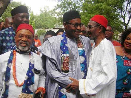 Presidential nominee of the All Progressives Congress (APC) General Muhammadu Buhari (Rtd) with Senator Chris Ngige of the APC and Chief Chukwuma Azikiwe, the eldest son of the first President of Nigeria, late Dr. Nnamdi Azikiwe at a meeting on November 15, 2014, in the house of the Azikiwe family in Onitsha, Anambra State.