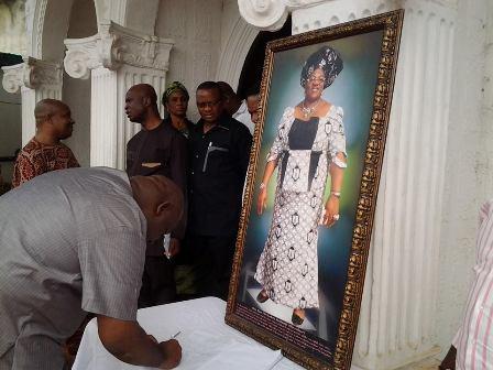 Imo Speaker signing the condolence register at late Eudora Igwe's residence