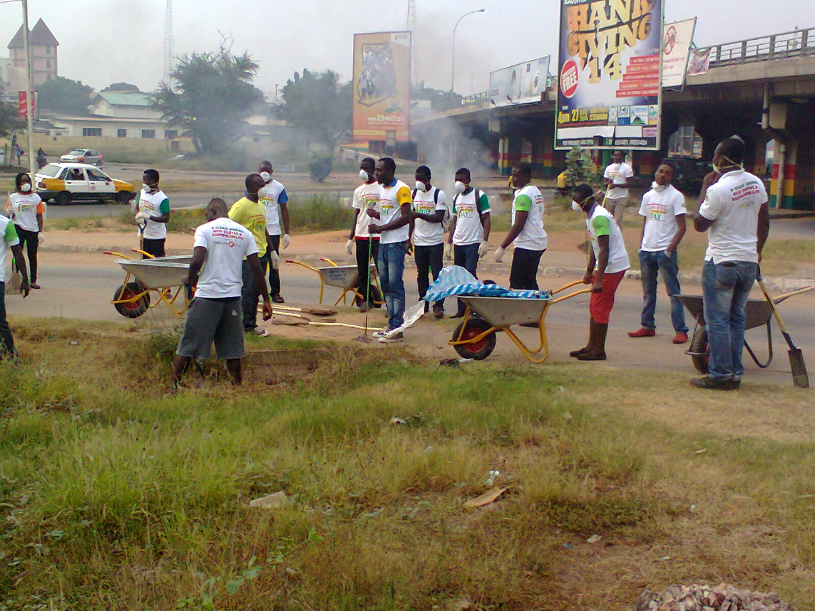 NSS staff and personnel in a cleanup